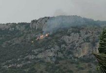 Incendio sul monte Leano