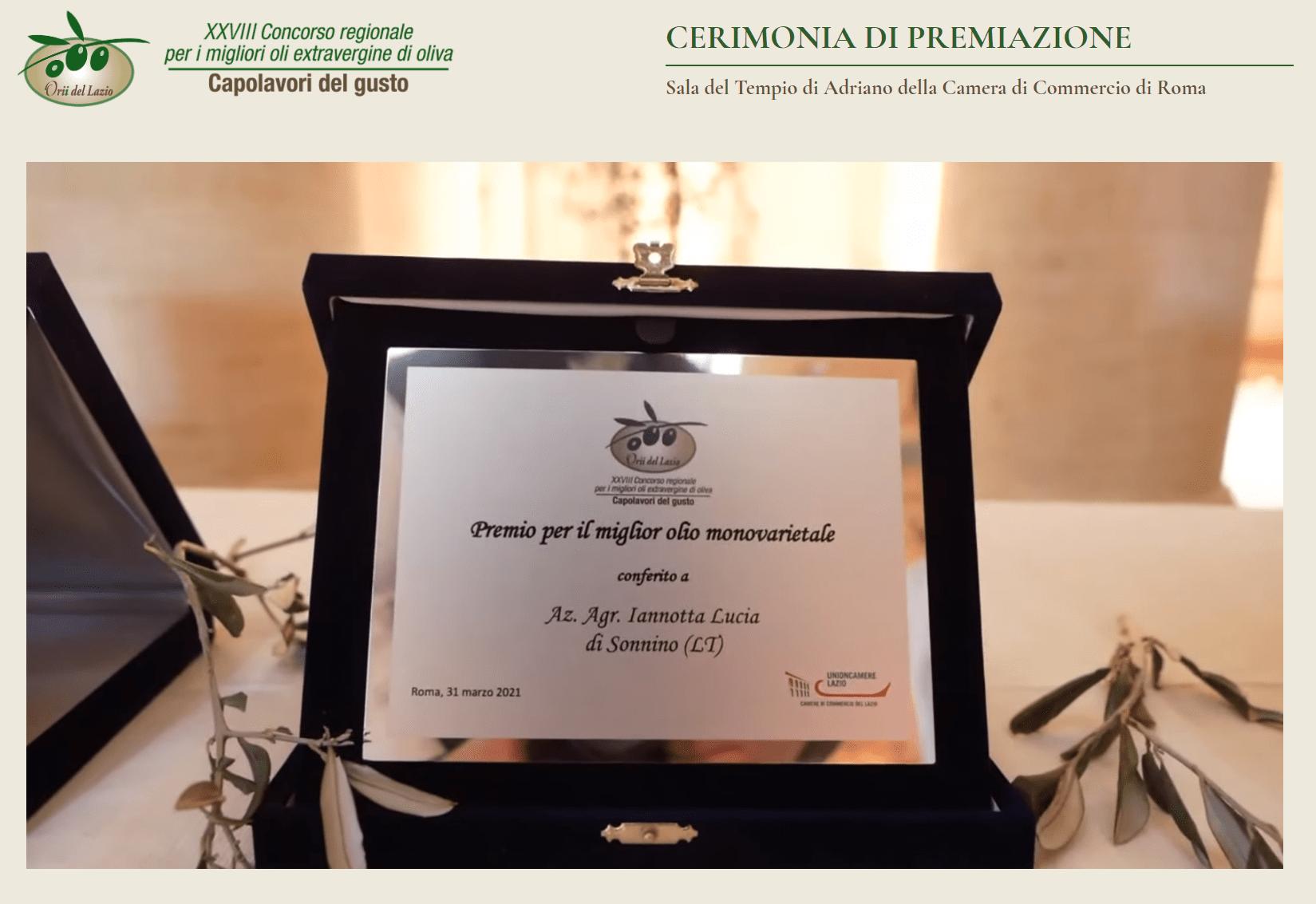 Orii del Lazio, 5 le aziende olivicole pontine premiate