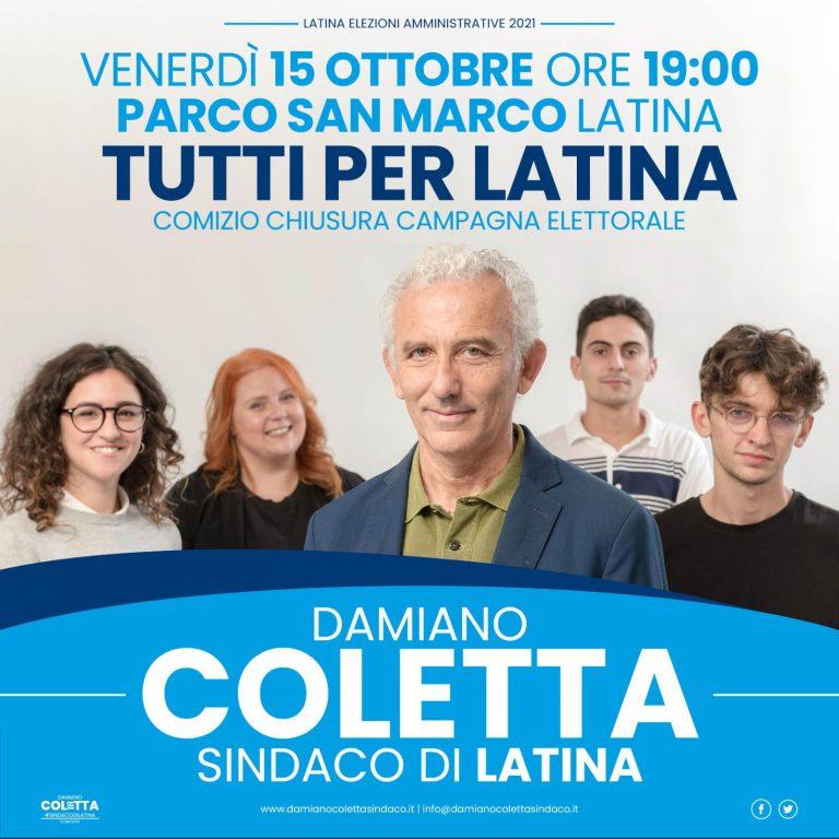 Ballottaggio Latina: Damiano Coletta chiude la campagna elettorale con tre eventi
